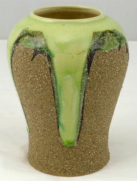 Ginger Jar Shaped Vase In Celery And Rough Sand Glaze For