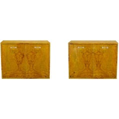Pair Milo Baughman Floating Burled Wood & Lucite Wall Cabinets