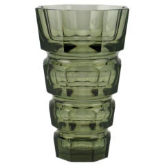 Large Moser Smoked & Cut Glass Vase
