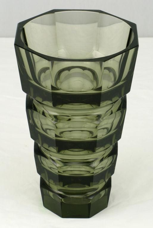 Large Moser Smoked And Cut Glass Vase At 1stdibs
