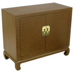 Baker Chinoiserie Cabinet In Chocolate Lacquered Grass Cloth