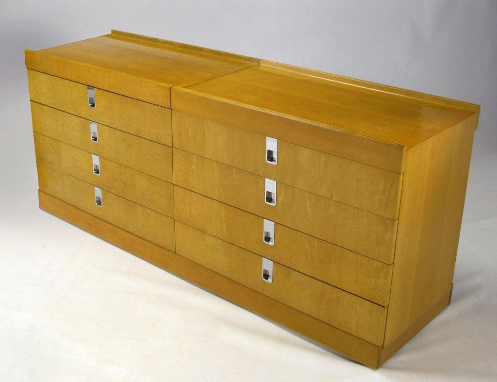 Baker birdseye maple and birch wood modular eight drawer