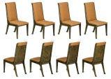 Set Eight  Mastercraft Amboyna Burl & Brass Dining Chairs