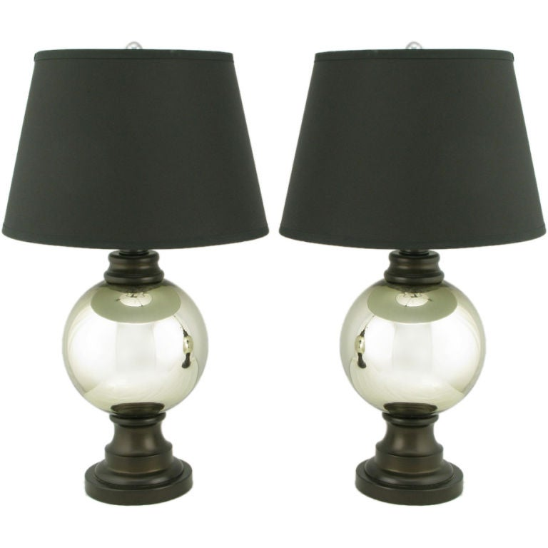 pair spherical mercury glass table lamps for sale at 1stdibs. Black Bedroom Furniture Sets. Home Design Ideas