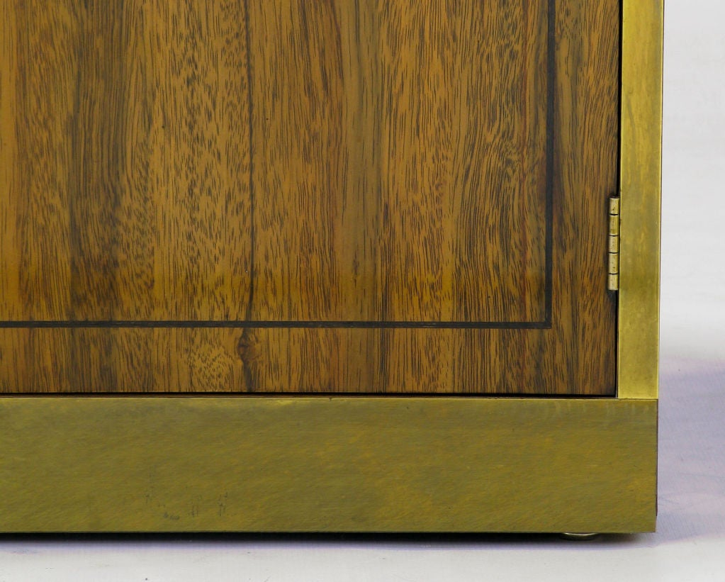 Pair Mastercraft Zebrano Wood and Brass Night Stands at 1stdibs