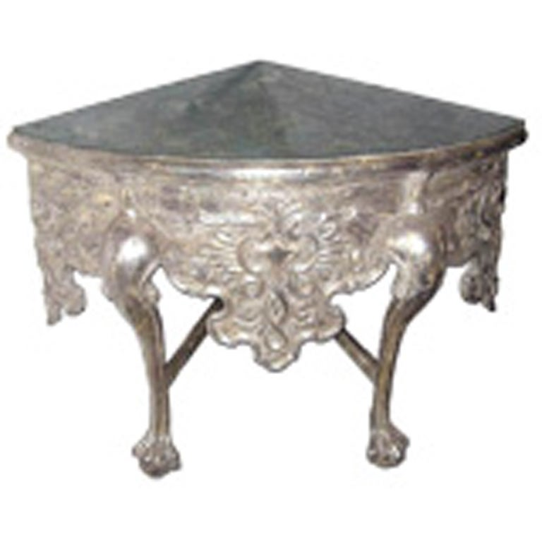 Silverleaf Carved Corner Table with Mirrored Top