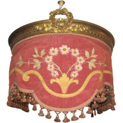 19th Century Brass & Embroidered Textile Bed Canopy