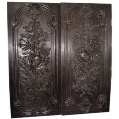 Pair of Continental Carved Door