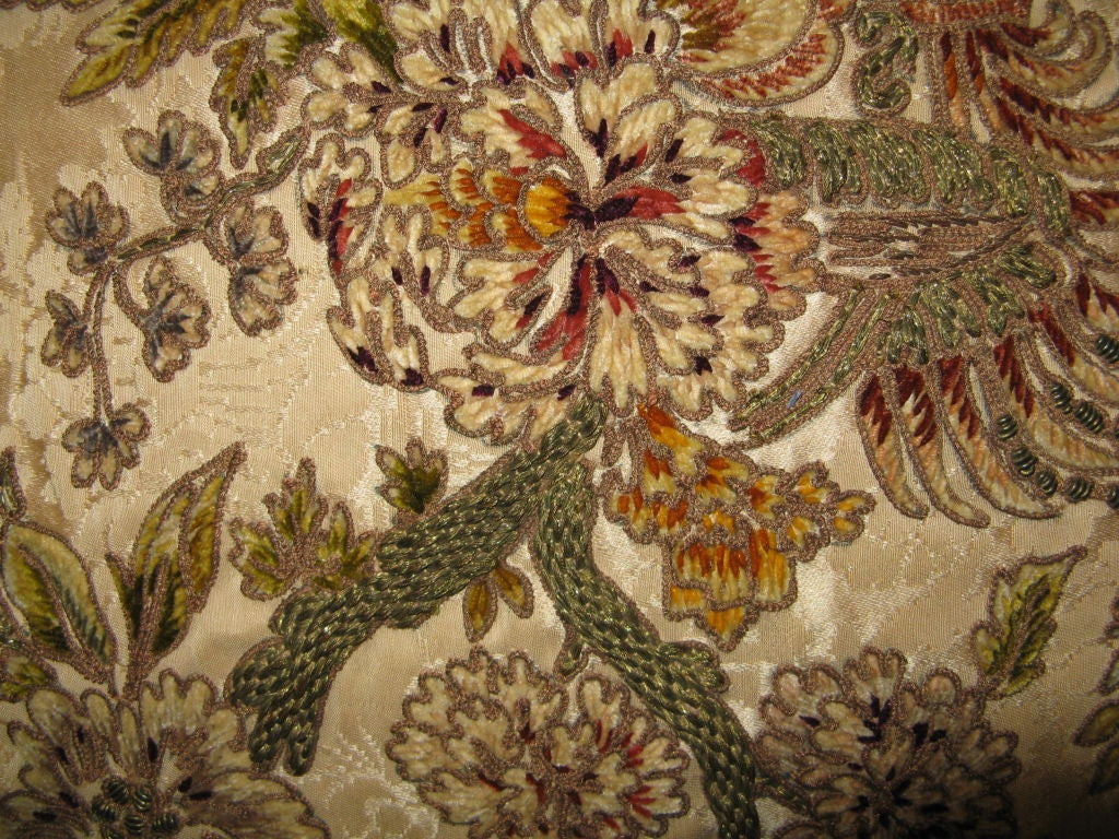 19th C French Metallic And Chenille Embroidered Textile