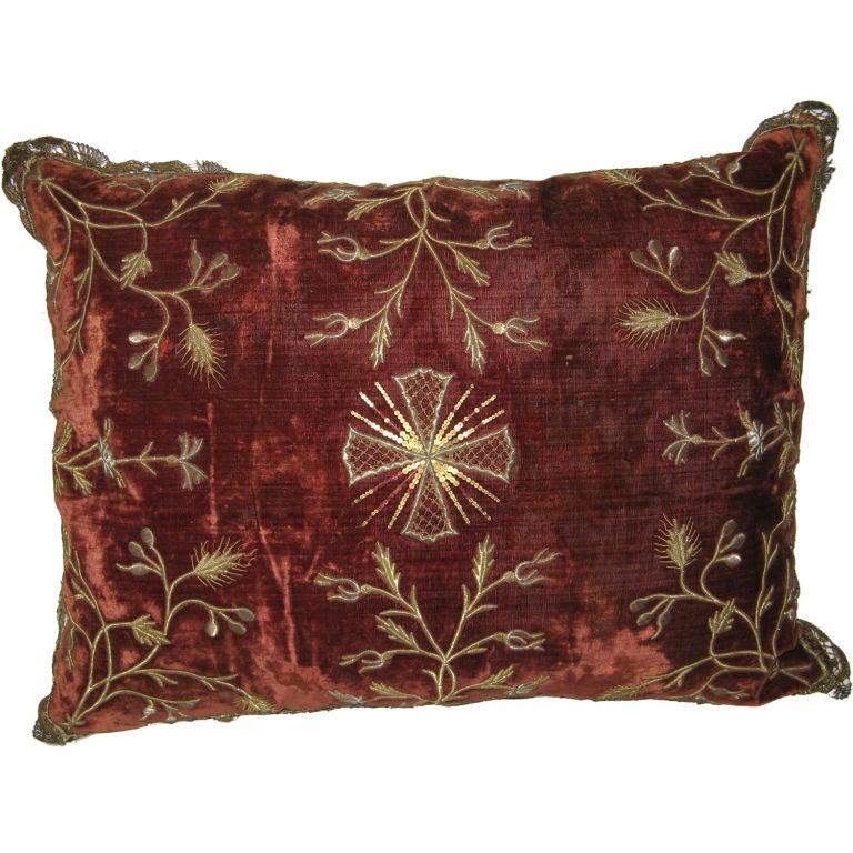 Italian Embroidered Silk Velvet Pillow C. 1800 s at 1stdibs