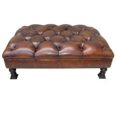 Handsome Leather Tufted Bench/Ottoman C. 1940