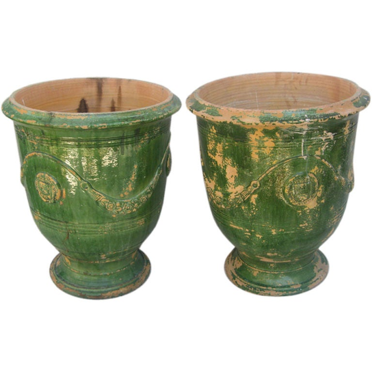 Pair of french green glazed cerematic pots at 1stdibs - Planters contact provence ...
