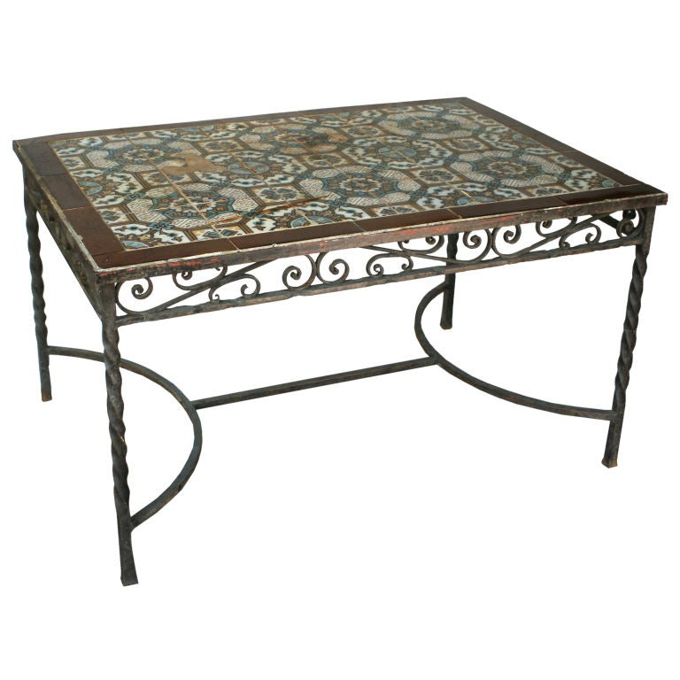 Mexican Tile Top Table At 1stdibs