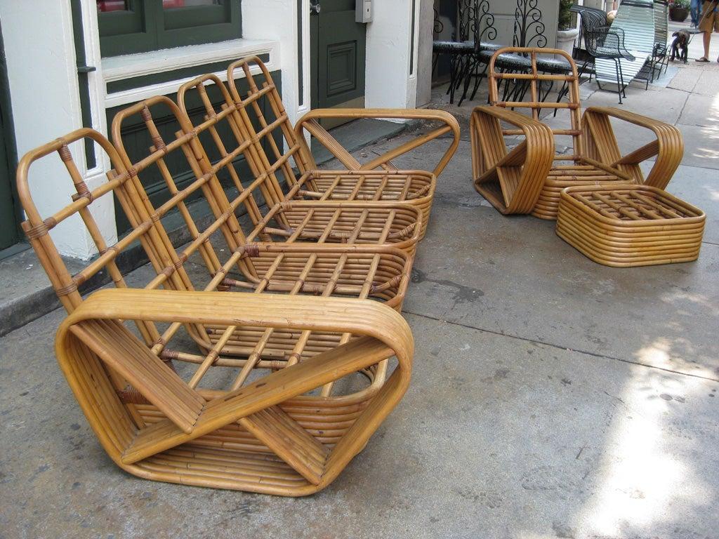 American Paul Frankl 6 Banded 8 Piece Living Room Set For Sale