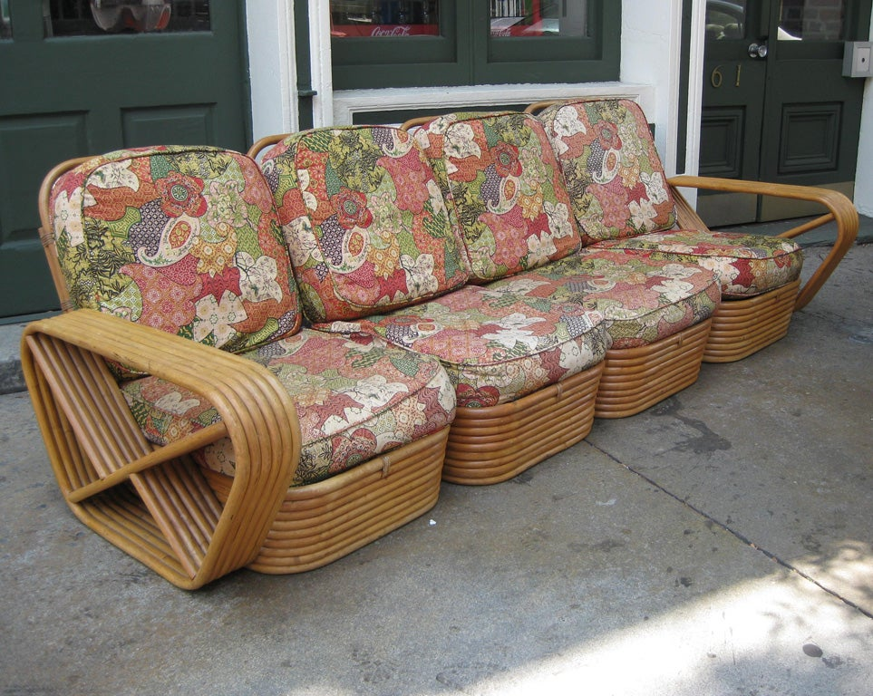 Bamboo Paul Frankl 6 Banded 8 Piece Living Room Set For Sale