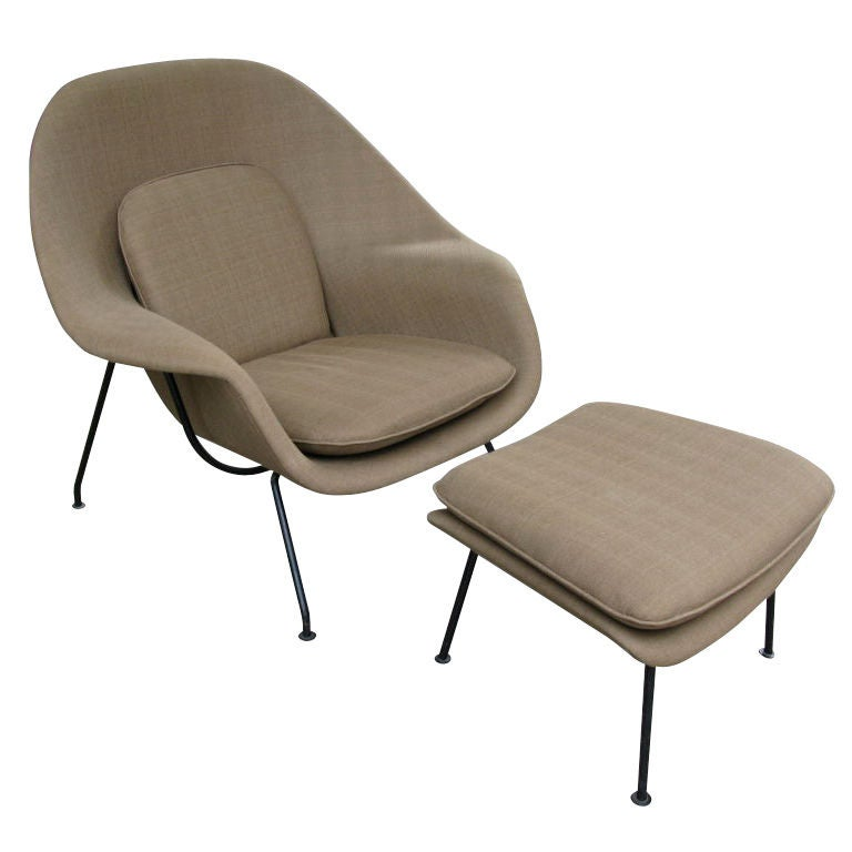 eero saarinen for knoll womb chair and ottoman at 1stdibs. Black Bedroom Furniture Sets. Home Design Ideas