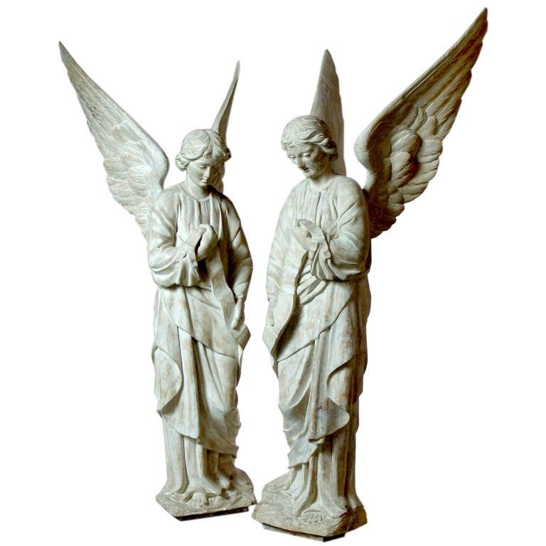 PAIR OF CARVED ANGELS 1