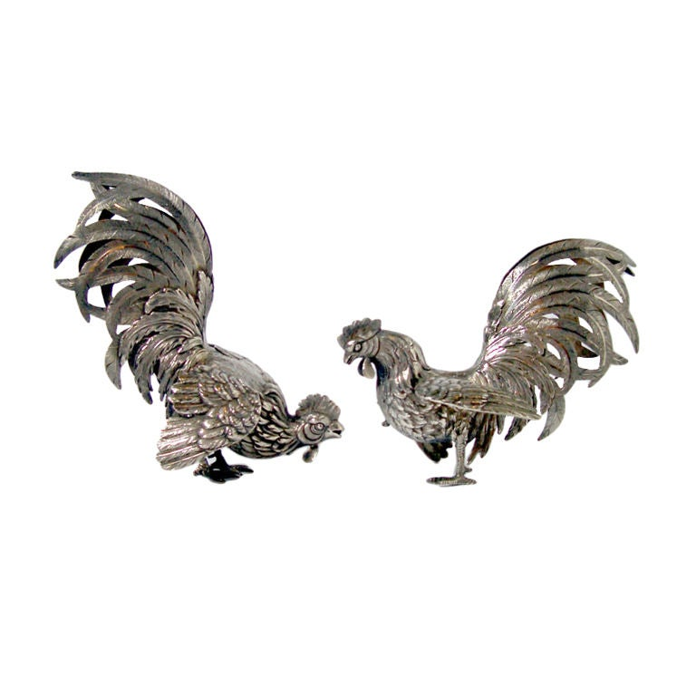 Pair of Silver Roosters