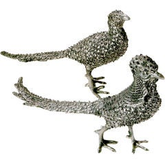 Pair Silver Prickly Pheasants