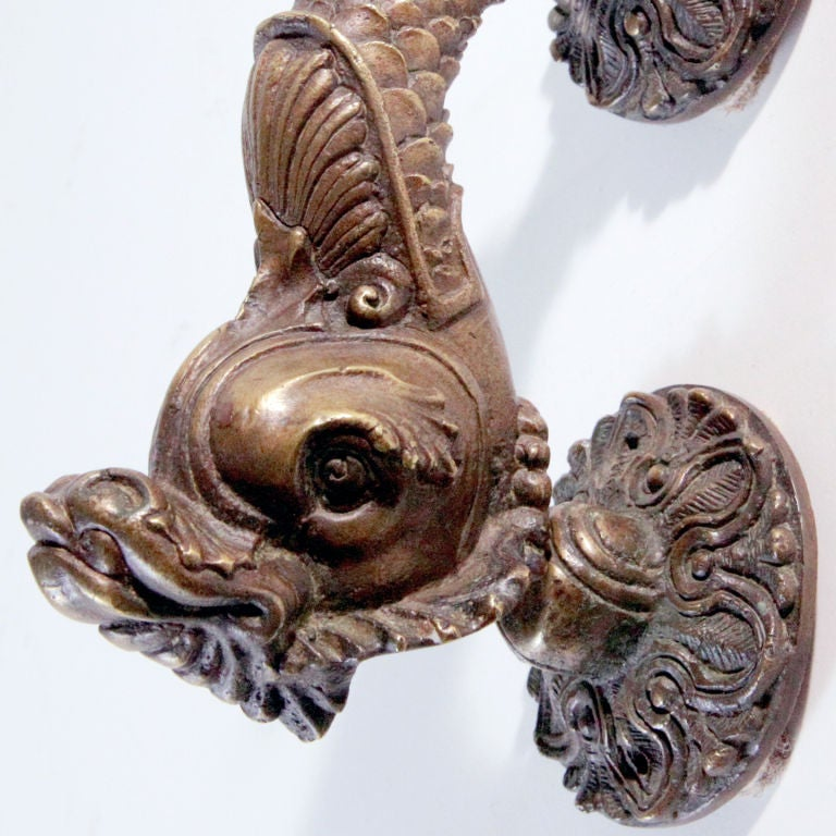 Dolphin door knocker at 1stdibs - Dragon door knockers for sale ...