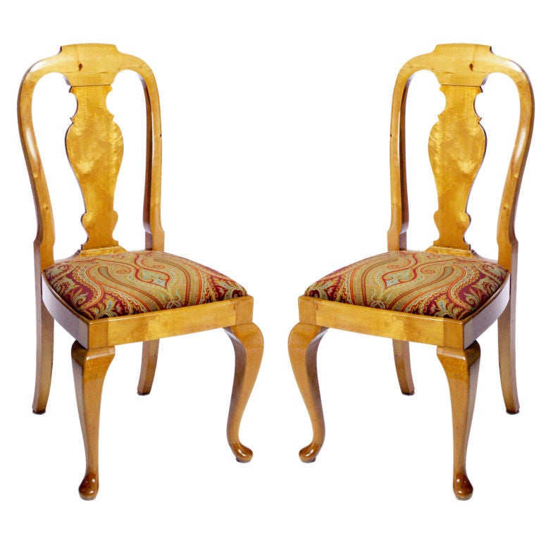 Pair Of Queen Anne Style Chairs For