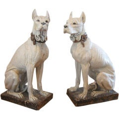 HUGE pair of Italian Terracotta GREAT DANES 1900'S