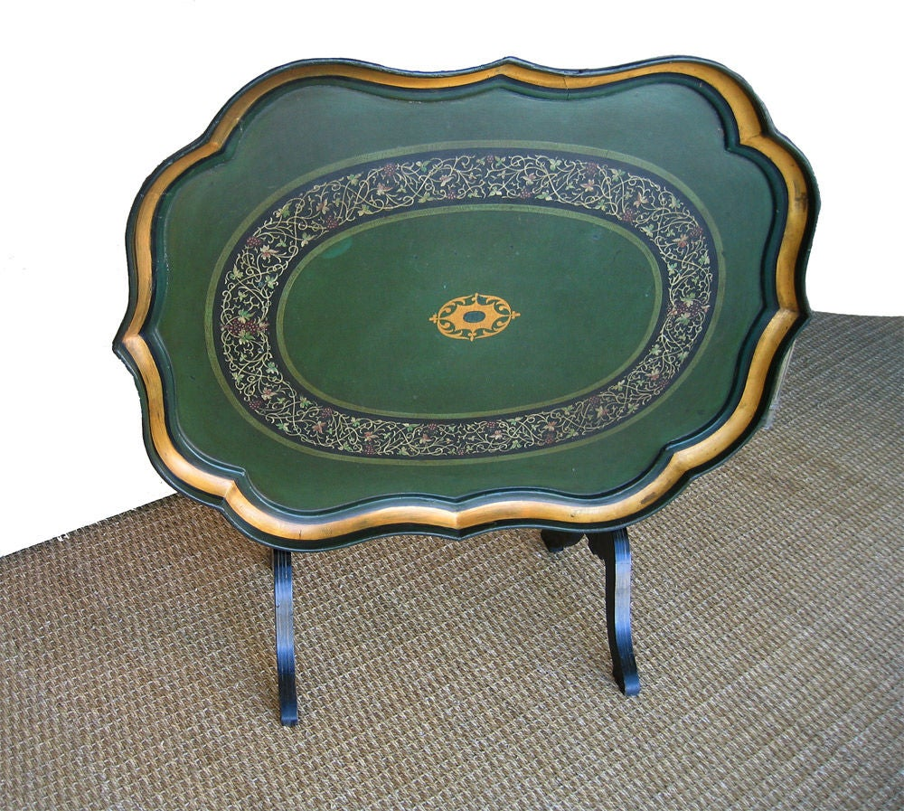 English Signed B. Walton & Co. Papier-Mâché Tray on Tilting Stand, c1840 For Sale