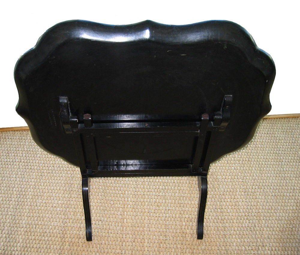 Wood Signed B. Walton & Co. Papier-Mâché Tray on Tilting Stand, c1840 For Sale