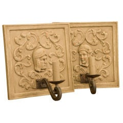 Pair one-of-a kind carved wood sconces