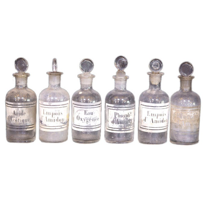 Set Of Six Antique Apothecary Bottles At 1stdibs