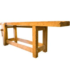 Authentic Belgian antique work bench