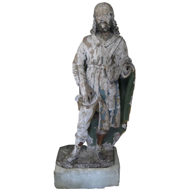 Antique 18th Century Statue of St. Roch from a Chapel Near Arles, France 1