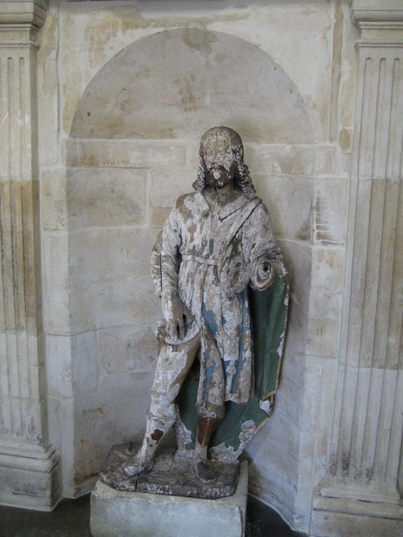 Antique 18th Century Statue of St. Roch from a Chapel Near Arles, France 2