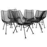 6 Wrought Iron and Mesh Dining Chairs by Russell Lee Woodard Co.