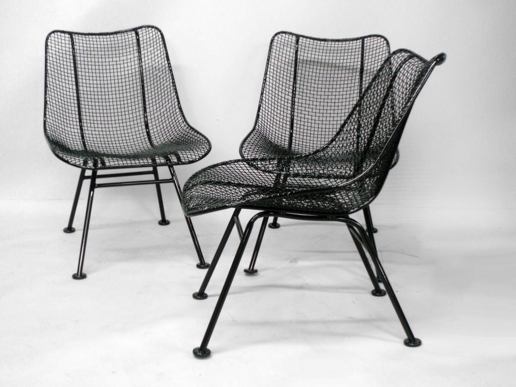 6 Wrought Iron and Mesh Dining Chairs by Russell Lee Woodard Co