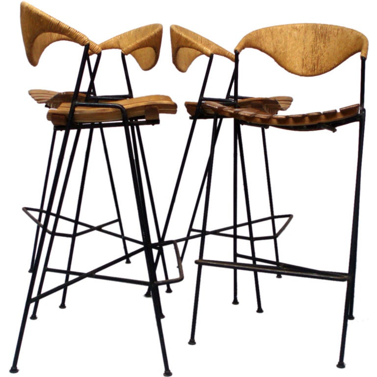Four Wrought Iron Wood Cane Wrapped Barstools By Arthur