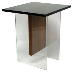 A Lucite, Walnut and Glass Occasional Table