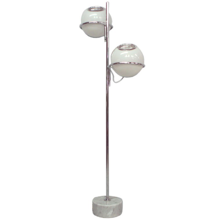 Glass chrome marble floor lamp by reggiani at 1stdibs for Reggiani chrome floor lamp