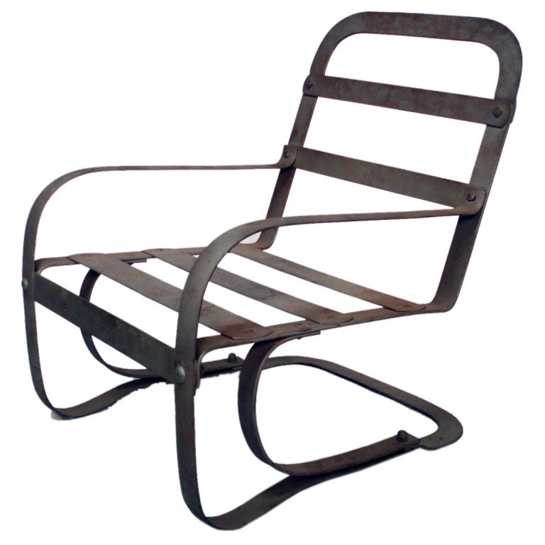 Moderne Art Deco Steel Chair by McKay For Sale