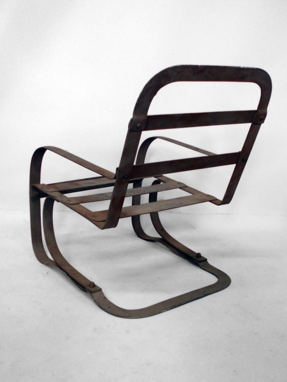 Industrial Moderne cantilevered spring steel chair by the McKay Company.