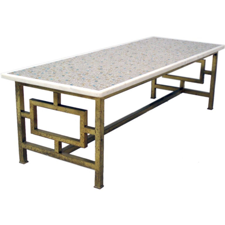 A Brass Base, Marble Inset Glass Tile Cocktail Table At