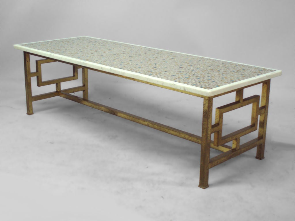 A brass base marble inset glass tile cocktail table at 1stdibs Glass coffee table base