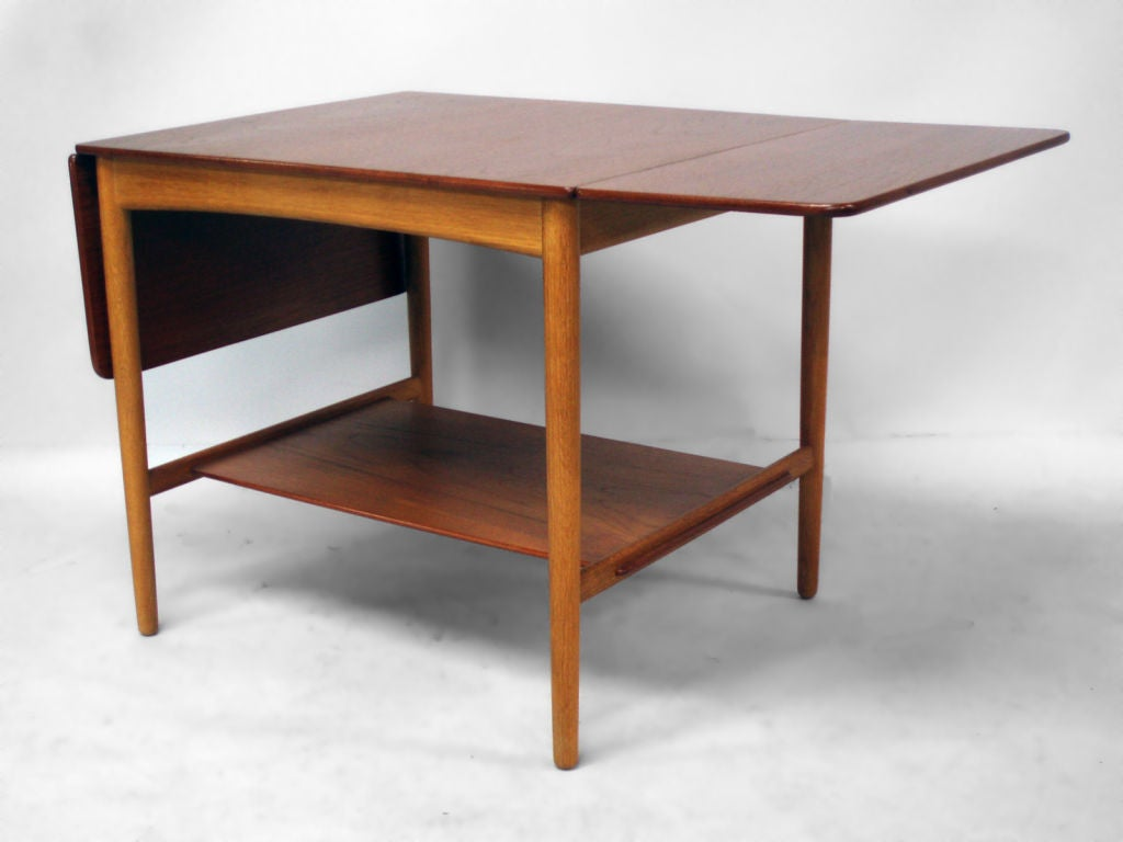 Teak And Oak Drop Leaf Occasional Table By Hans Wegner At 1stdibs. Full resolution  photograph, nominally Width 1024 Height 768 pixels, photograph with #A46127.