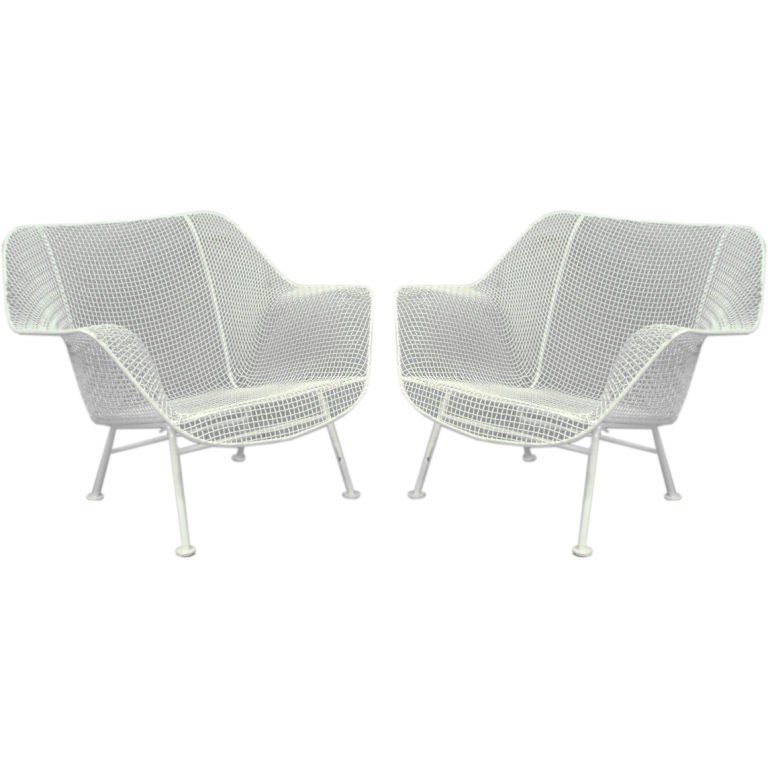 Wrought Iron and Mesh Steel Lounge Chairs by Russel Woodard at 1stdibs
