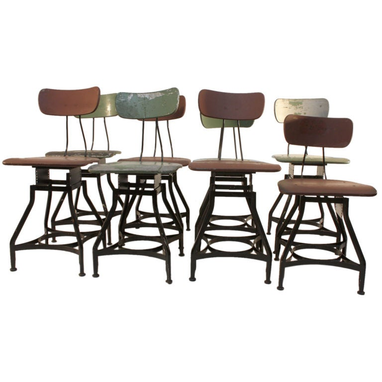 8 Adjustable Early Industrial Stools In Nice Old Surface
