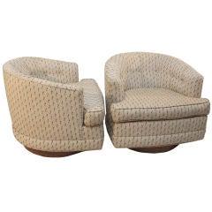 Pair Milo Baughman for Thayer Coggin swivel tub chairs