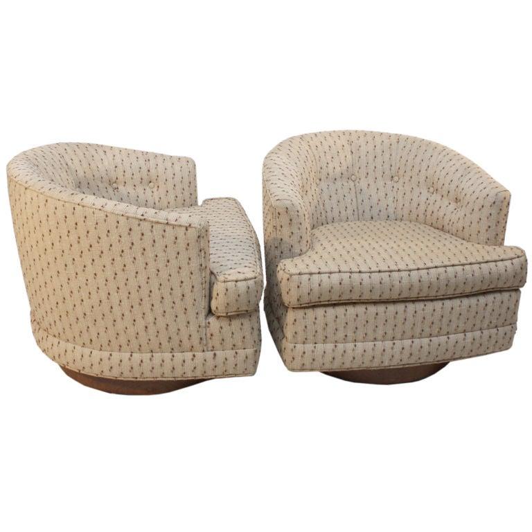 Pair Milo Baughman for Thayer Coggin swivel tub chairs at