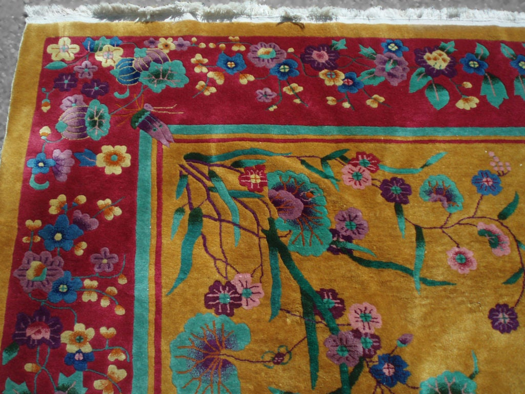 A Nichols Chinese Art Deco Hand Tied Rug With Marigold Mustard Field Excellent Bright