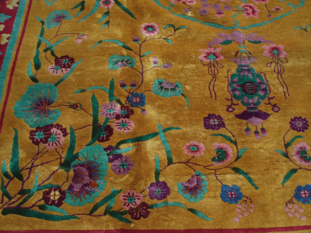 A Nichols Chinese Art Deco Rug With Marigold Mustard Field