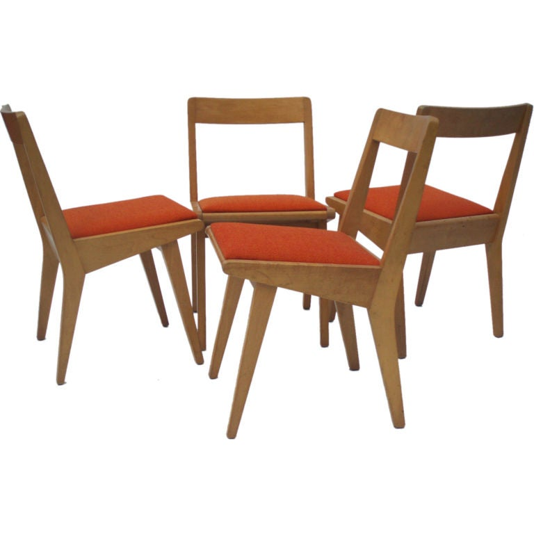 Risom Knoll Maple Dining Chairs 4
